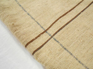 Rare Vtg Antique Brown Stripe European Hemp Linen Fabric Feed Sack Grain Bag
