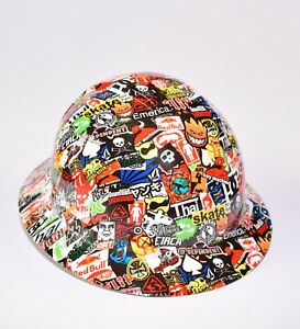 Custom Ridgeline Wide Brim Hard Hat Osha Hydro Dipped In Skate Sticker Bomb