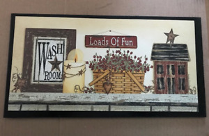 Wash Room Load Of Fun Basket Berries Laundry 10x19 Bathroom Art Decor Wood Sign