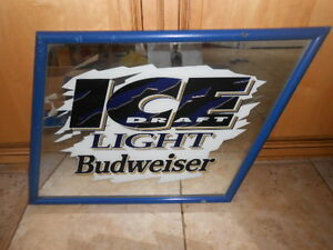 Breweriana Ice Draft Light Budweiser Large Mirror Sign From Local Pub 20 X 25