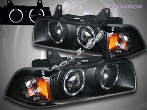 92 98 Bmw E36 3 Series 2 Door Coupe Dual Halo Projector Black Amber Headlights
