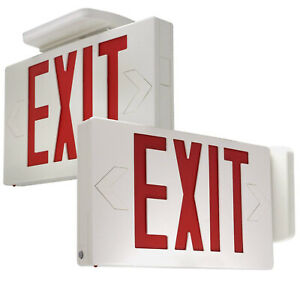 Etoplighting 2 Pack Led Exit Sign Emergency Light Red Lettering In White Body