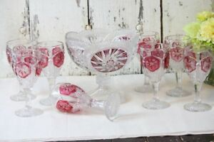 Cranberry Glass Compote 8 Wine Glasses Flashed Cranberry Ruby Red Diamond Star