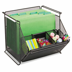 Safco Onyx Stackable Mesh Storage Bin 4 compartment 14 X 15 1 2 X 11 3 4 Black