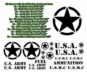 Hood Body Decals Military Graphics Black Or White Fits Jeep Wrangler Jk Tj Yj