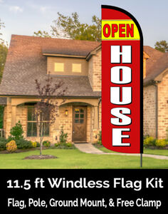 Open House Windless Feather Banner Flag Kit flag Pole Ground Mt