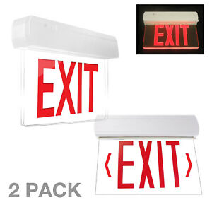 2pcs Led Exit Sign Emergency Light High Output Red Compact Combo