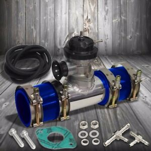 Black 30 Psi Turbo Blow Off Valve 2 5 Flange Pipe 4 Clamps 2 Blue Silicone Hose