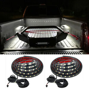 2x Pure White Truck Unloading Cargo Bed Led Light Strip Kit Waterproof For Ford