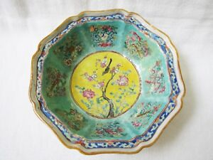 Antique Qing Early 19th Century Chinese Export Porcelain Octagonal Punch Bowl