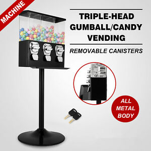 Triple Bulk Candy Vending Machine Removable Canisters Dispensing Small Capsules
