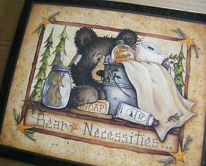 Bear Necessities Primtive Outhouse Bathroom Wall Art Powder Room Decor Wood Sign