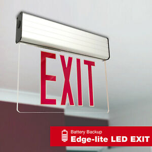 Led Exit Sign Emergency Light Hi Output Red Compact Combo Ul Fd10aecr
