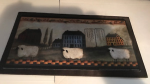Saltbox Houses Sheep Coutry Primitive Kitchen Vintage Wall Art Decor Wooden Sign