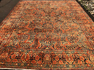 Antique Persian Sarouk Mohajeran Rug 9x12 Ft Cir 1900