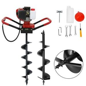 56cc Gas Powered Earth Auger Power Engine Post Hole Digger 6 10 Ground Bits