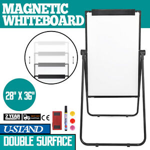 U stand Magnetic Dry Erase White Board Easel Portable Black Reversible 36 24