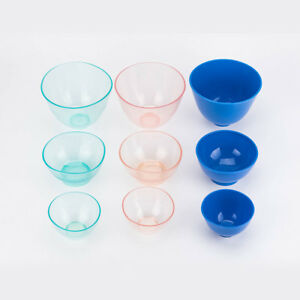 10 Sets Dental Mixing Bowl Silicone Rubber Plaster Impression Pink Blue L m s