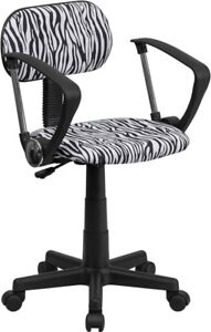 Flash Furniture Black And White Zebra Print Swivel Task Chair With Arms Low Back