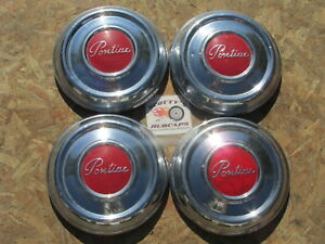 1951 54 Pontiac Chieftain Streamliner Deluxe poverty Dog Dish Hubcaps Set 4