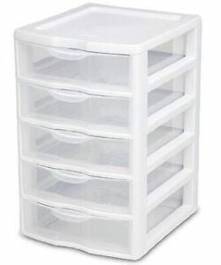 Sterilite Clearview Small Plastic 5 Drawer Desktop Storage System 4 Pack