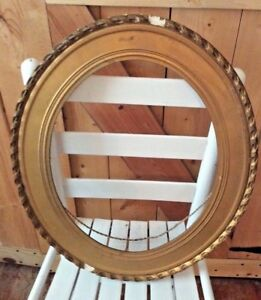 Vintage Antique Oval Gold Gesso Ornate Wood Wooden Picture Frame