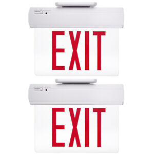 2 Pack Etoplighting Emergency Exit Sign Clear Acrylic Side Back Ceiling Mounting