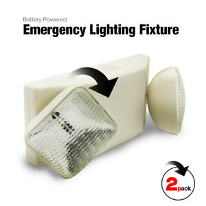 2pack Etoplighting Battery Powered Emergency Lighting Fixture Double Heads White