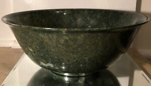 Huge Antique Chinese Spinach Jade Bowl