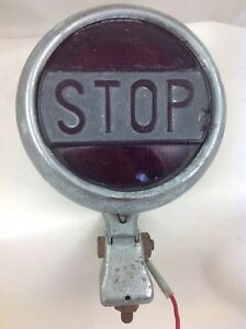 Vintage Antique Classic Stop Light With A Red Glass Lens Model T