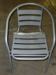 lot Of 39 New Silver Gray Metal Restaurant Indoor Outdoor Stack Chairs W Arms