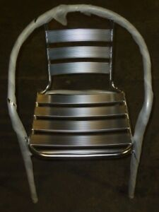 lot Of 52 New Chrome Silver Metal Restaurant Indoor Outdoor Stack Chairs