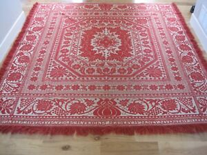 Woven Coverlet Wm Ney Myerstown Pa Red W Fringe Antique