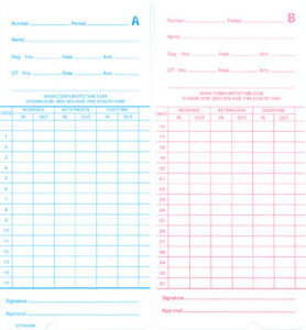 1000 Monthly Time Cards For The Compumatic Tr220d Tr440a Tr440d Tr880d