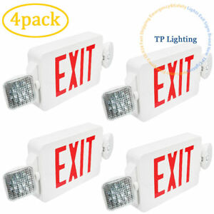 4x Led Red Letter Exit Sign Emergency Lighting Compact Combo Ul 924