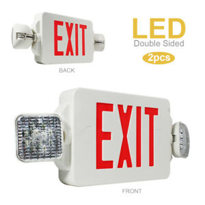 Set Of 2 Double Sided Led Exit Sign Emergency Light Red Letter Twin Heads