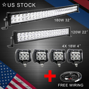 32 Led Light Bar Combo 22 4 Pods Offroad Suv 4wd Atv Fog For Jeep Wiring