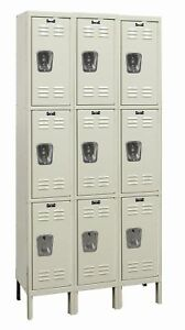 Hallowell Galvanite 3 Tier 3 Wide Employee Locker