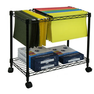 Oceanstar Design Portable 1 tier Metal Rolling File Cart