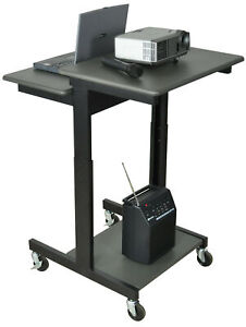 Luxor Mobile Adjustable Height Computer Workstation Av Cart