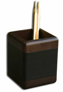 Dacasso 8000 Series Walnut And Leather Pencil Cup In Black