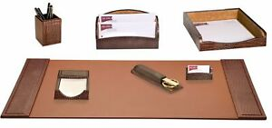 Dacasso Crocodile Embossed 7 Piece Desk Set Brown