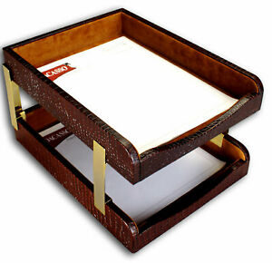 Dacasso Crocodile Embossed Leather Double Letter Tray Brown