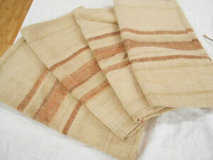 Lot Of 4 Matching Vtg Antique Brown Stripe Hemp Linen Feed Sack Bag Grain Bags