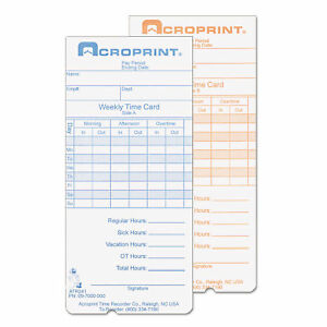Acroprint Time Recorder Weekly Time Card Set Of 250