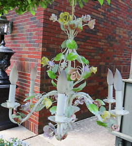 Vintage Italian French Tole 6 Light Chandelier Leaf Metal Flowers Roses