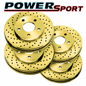 Fit 1994 1998 Nissan Maxima Front Rear Powersport Gold Drilled Brake Rotors