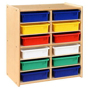 Wood Designs Contender Letter Storage 12 Compartment Cubby With Trays