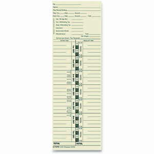 Tops Business Forms Time Card For Acroprint And Lathem Ukr1019