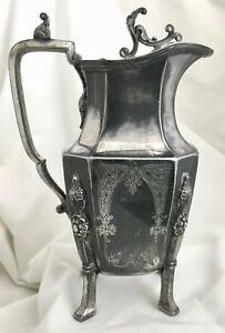 Antique 1886 Meriden Teapot Triple Silver Plate Footed Victorian Ornate Floral